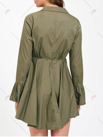 Buy Button Up Embroidery Flare Sleeve Shirt Dress - L ARMY GREEN Mobile