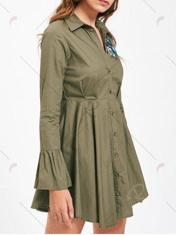 Store Button Up Embroidery Flare Sleeve Shirt Dress - L ARMY GREEN Mobile