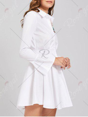 Unique Button Up Embroidery Flare Sleeve Shirt Dress - M WHITE Mobile