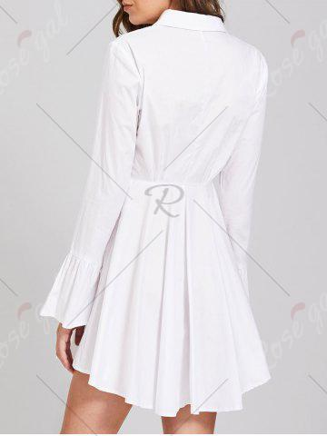 Fashion Button Up Embroidery Flare Sleeve Shirt Dress - M WHITE Mobile