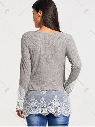 Online Lace Trim Panel Casual Knit Top - S GRAY Mobile