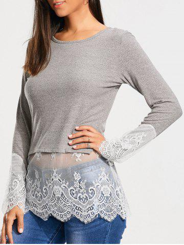 Lace Trim Panel Casual Knit Top - Gray - M