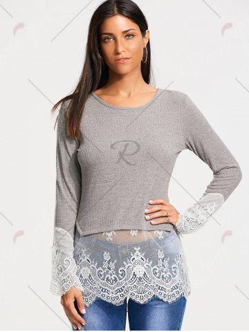 New Lace Trim Panel Casual Knit Top - XL GRAY Mobile