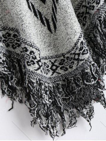 Affordable Jacquard Fringed Plus Size Poncho Sweater - ONE SIZE GRAY Mobile
