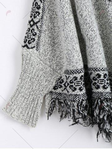Cheap Jacquard Fringed Plus Size Poncho Sweater - ONE SIZE GRAY Mobile