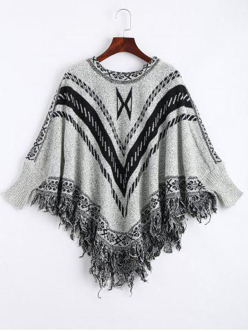 Store Jacquard Fringed Plus Size Poncho Sweater GRAY ONE SIZE