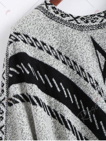 Unique Jacquard Fringed Plus Size Poncho Sweater - ONE SIZE GRAY Mobile