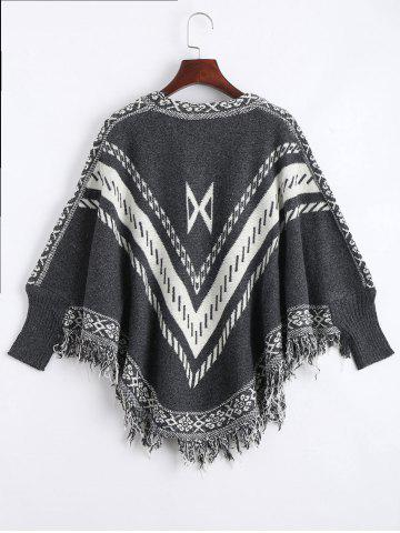 New Jacquard Fringed Plus Size Poncho Sweater - ONE SIZE DEEP GRAY Mobile