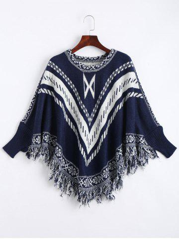 Trendy Jacquard Fringed Plus Size Poncho Sweater PURPLISH BLUE ONE SIZE