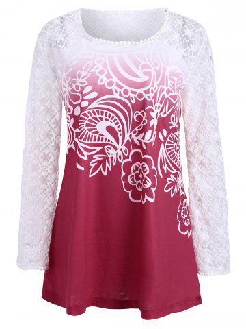 Outfits Lace Panel Long Sleeve Ombre Top RED S