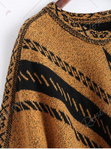Fancy Jacquard Fringed Plus Size Poncho Sweater - ONE SIZE EARTHY Mobile