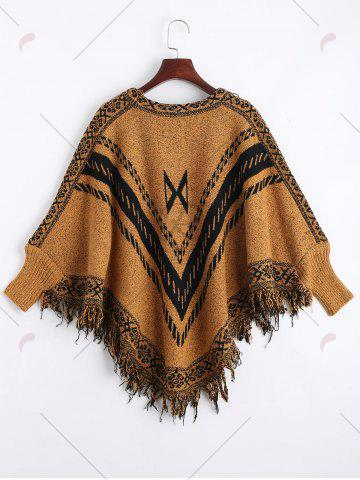 Sale Jacquard Fringed Plus Size Poncho Sweater - ONE SIZE EARTHY Mobile
