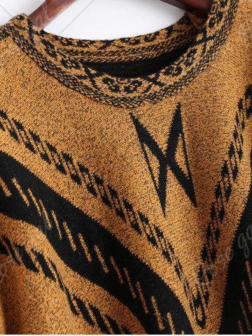 Store Jacquard Fringed Plus Size Poncho Sweater - ONE SIZE EARTHY Mobile