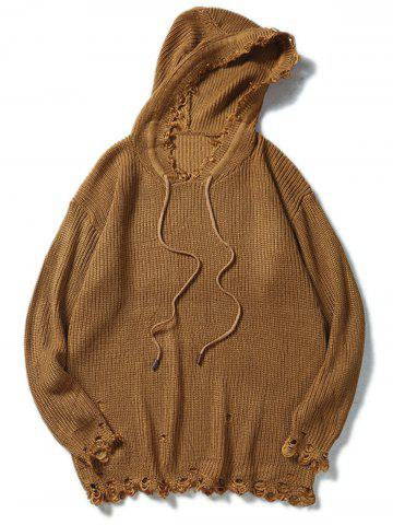 Chic Drawstring Hooded Ripped Knitted Sweater - XL COFFEE Mobile