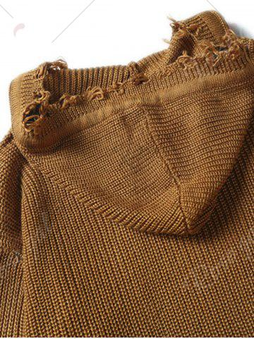 Unique Drawstring Hooded Ripped Knitted Sweater - L COFFEE Mobile