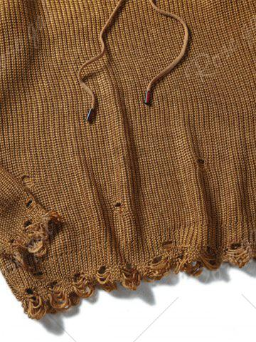 Cheap Drawstring Hooded Ripped Knitted Sweater - L COFFEE Mobile