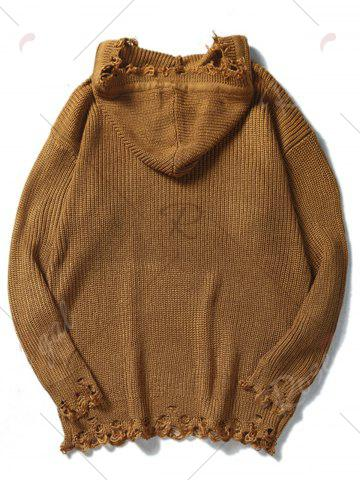 Buy Drawstring Hooded Ripped Knitted Sweater - L COFFEE Mobile