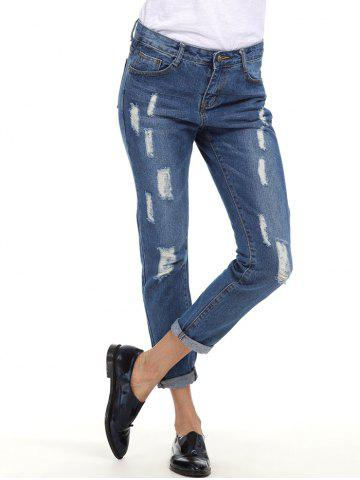Best Cuffed Ripped Boyfriend Jeans BLUE S