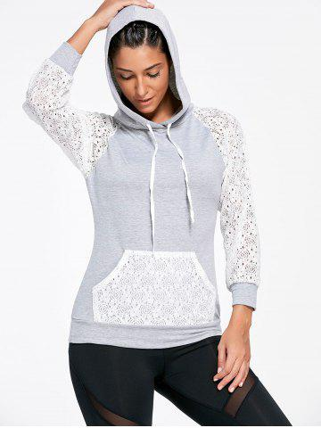 Shop Lace Sleeve Panel Sports Hoodie with Pocket - M GRAY Mobile