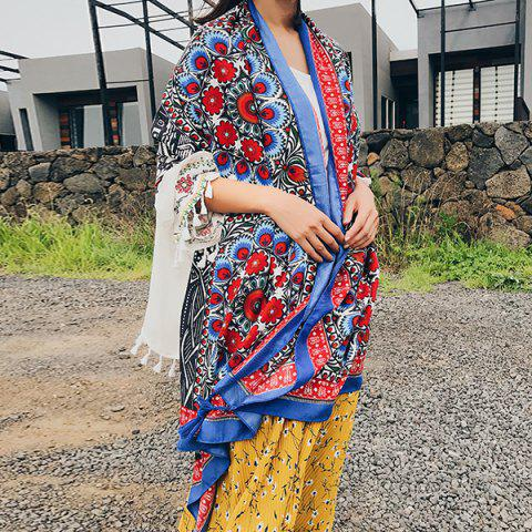 Latest Ethnic Flowers Printed Cotton Blended Shawl Scarf BLUE