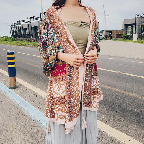 Buy Boho Ethnic Floral Printing Tassels Shawl Scarf LIGHT BROWN