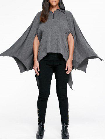 Outfits Halloween Handkerchief Hem Poncho Hoodie - 2XL GRAY Mobile