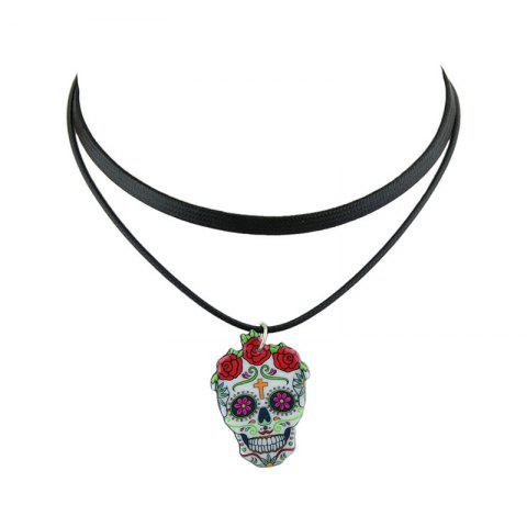 Discount PU Leather Crucifix Skull Flower Choker Necklace BLACK