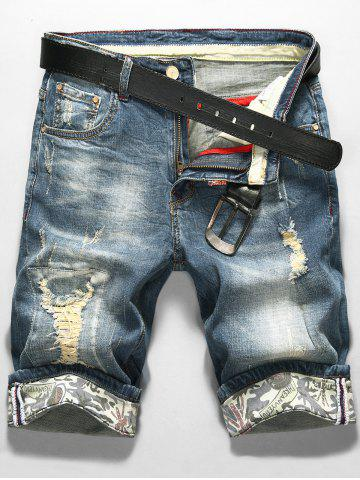 LS Print Zip Fly Démaquillant Shorts Denim