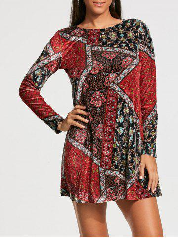 Patchwork Print Long Sleeve Tunic Shift Dress