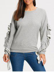 Ruffles Embellished Drop Shoulder Sweatshirt - GRAY S