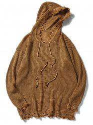 Drawstring Hooded Ripped Knitted Sweater - COFFEE XL