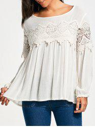 Lace Panel Long Sleeve Smock Blouse - WHITE