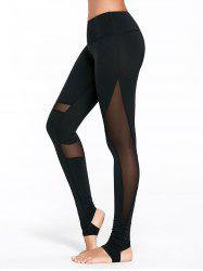 Sheer Mesh Insert Workout Leggings with Stirrup - BLACK