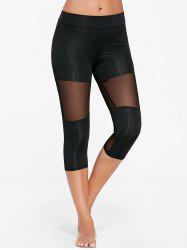 Capri Mesh Insert Workout Leggings - BLACK