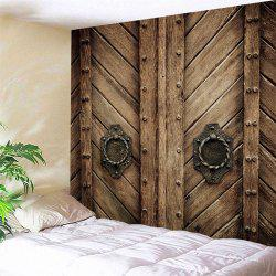 Natural Wood Door Print Wall Tapestry -