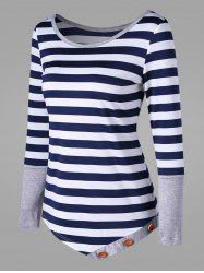 Button Embellished Striped Asymmetric Top