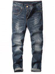 Zip Fly Tapered Cuffed Jeans -