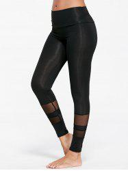 See Through  Mesh Insert Sports Tights - BLACK