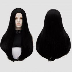 Long Middle Part Tail Adduction Straight Cosplay Anime Wig - BLACK