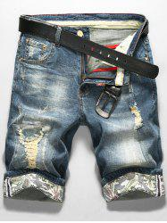 LS Print Zip Fly Distressed Denim Shorts
