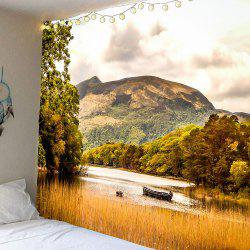 Lake Boat Forest Mountains Waterproof Hanging Tapestry
