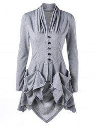 Single Breasted Ruched Layered Slim Top - LIGHT GREY