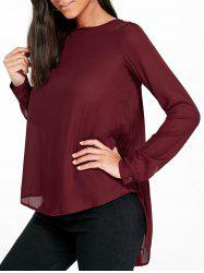 Long Sleeve Pleated Longline Blouse