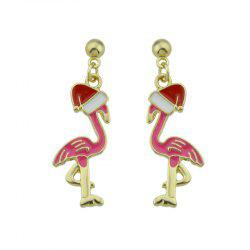 Ball Christmas Hat Bird Drop Earrings - PINK
