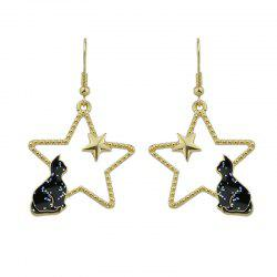 Cute Tiny Cat Star Hook Earrings - BLACK