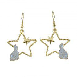 Cute Tiny Cat Star Hook Earrings - GRAY