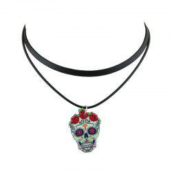 PU Leather Crucifix Skull Flower Choker Necklace - BLACK