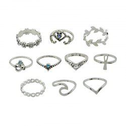 10 Pieces Plant Carve Rings - SILVER