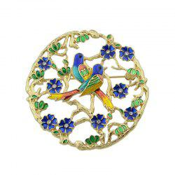 Rhinestoned Flower Bird Circle Brooch
