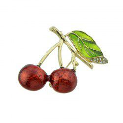 Rhinestone Leaf Litchi Fruit Brooch - RED